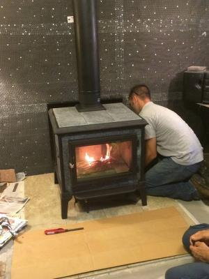 New Hearthstone Mansfield, First Fire. Brett Is Putting On The Final Touches