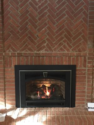 34 DVL Gas Insert With Wilmington Carbon Patina Face, One Piece Panel, EmberFyre Burner And Brick Fireback