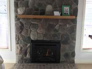 Travis 616 GSR2 Gas Insert With Rectangular Bevel Black Face, Driftwood Log Set, One Piece Panel Set And Brick Fireback